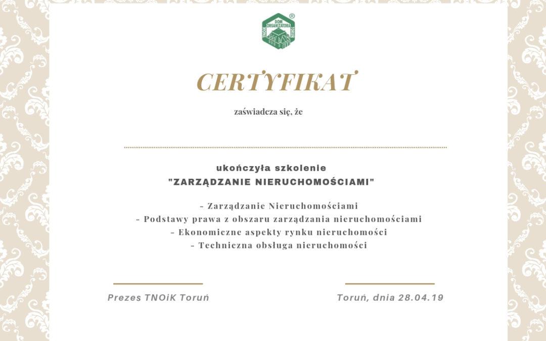 """Szkolenie """"Zarządzanie Nieruchomościami z Certyfikatem TNOIK """"Dom Organizatora"""""""
